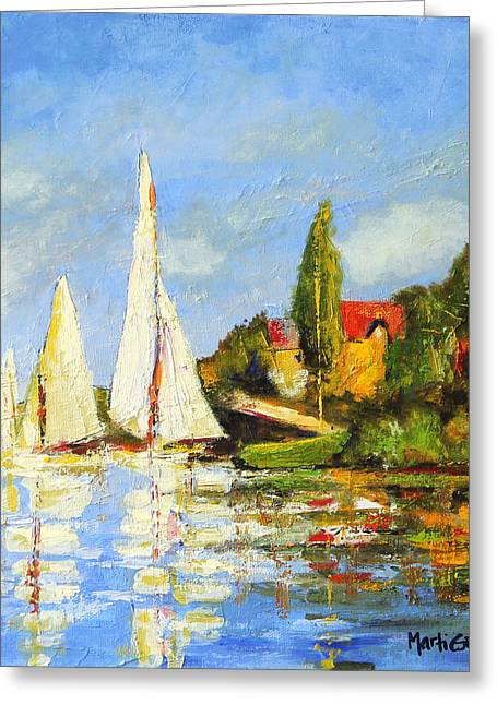 Recreation Of Boating At Argenteuil Greeting Card by Marti Green