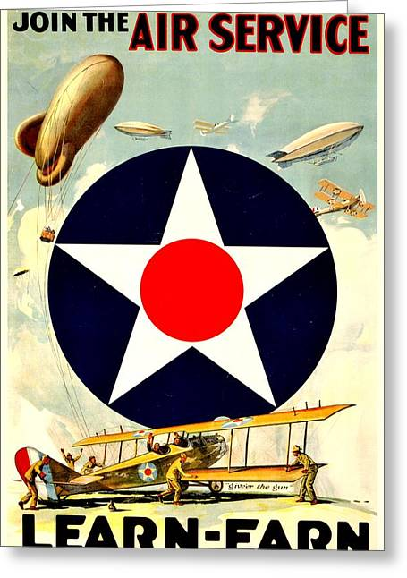 Recruiting Poster - Ww1 - Air Service Greeting Card by Benjamin Yeager