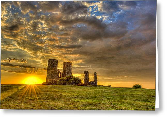Reculver Towers Kent Sunset Greeting Card