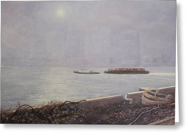 Recycling Barge On The Thames River Greeting Card by Eric Bellis