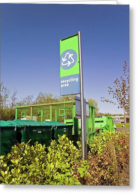 Recycling Collection Point Greeting Card by Simon Fraser/science Photo Library