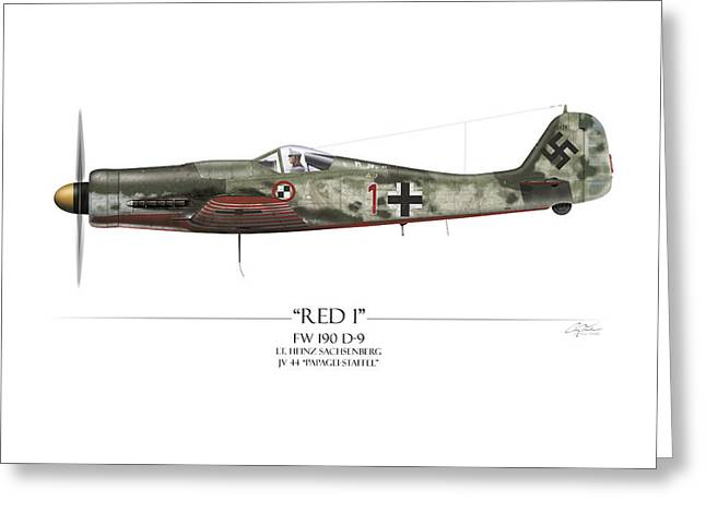 Red 1 Focke-wulf Fw-190d - White Background Greeting Card by Craig Tinder