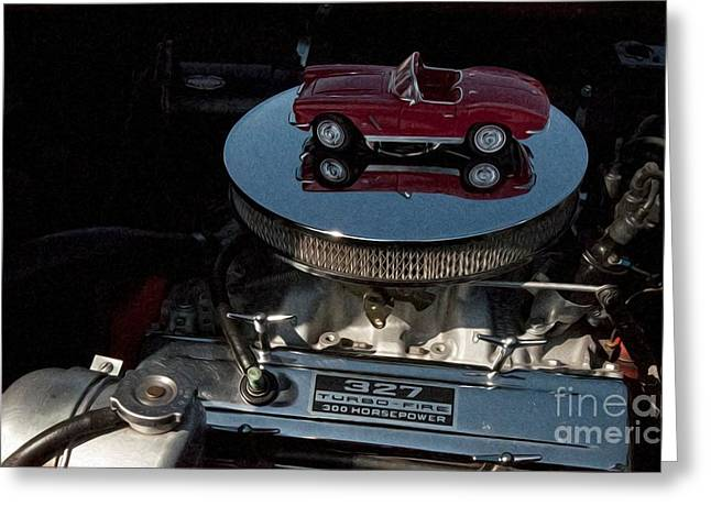 Red 1962 Chevrolet Corvette - Engine 327 - 300 Greeting Card by Liane Wright