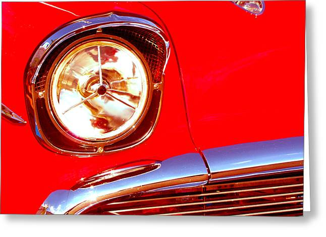 Red 57 Chevy Close Up Greeting Card