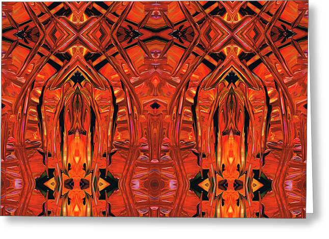Red Abstract Art - Warm Garden 2 - By Sharon Cummings Greeting Card