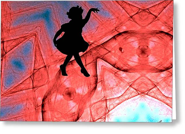 Red Abstract Curtain Call Greeting Card by Maggie Vlazny