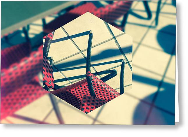 Red And Black Checkered Chairs Greeting Card