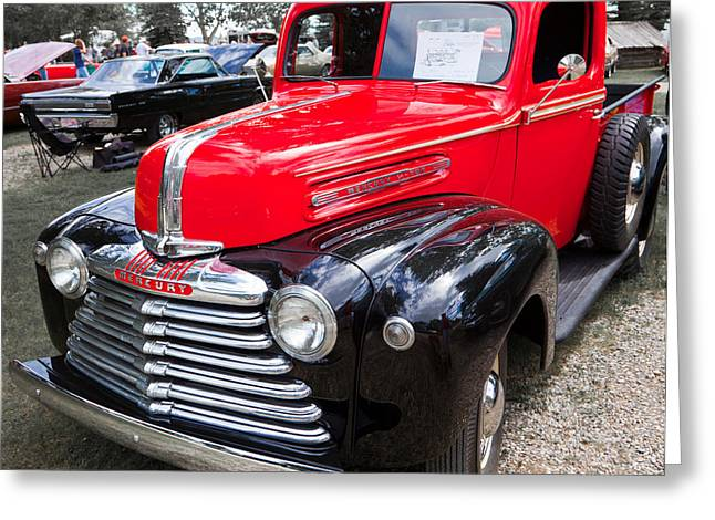 Greeting Card featuring the photograph Red And Black Mercury Pick Up by Mick Flynn