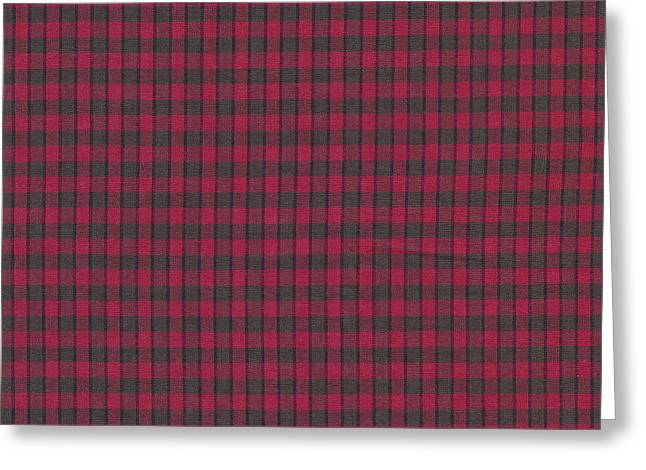 Red And Black Plaid Pattern Textile Background Greeting Card by Keith Webber Jr