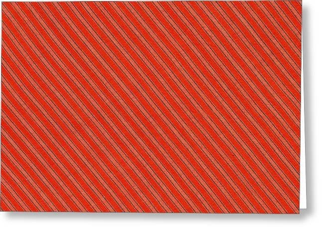 Red And Black Striped Diagonal Textile Background Greeting Card by Keith Webber Jr