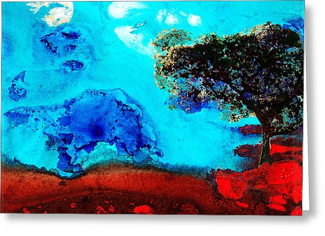 Red And Blue Landscape By Sharon Cummings Greeting Card by Sharon Cummings