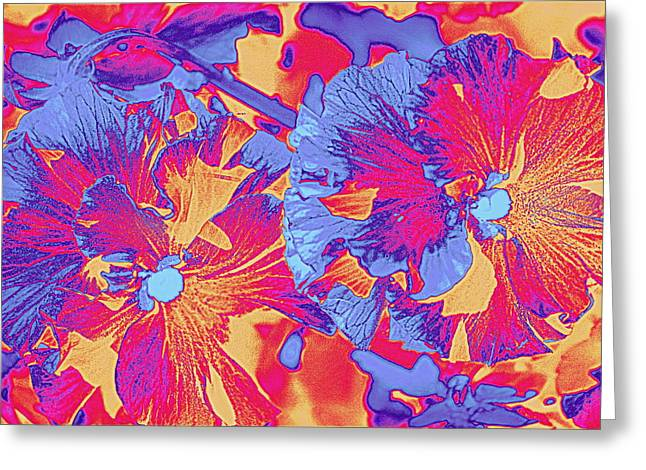 Red And Blue Pansies Pop Art Greeting Card