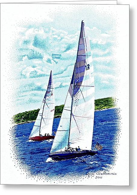 Red And Blue Sailboats Greeting Card by Judy Skaltsounis