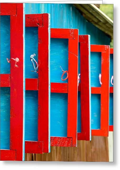 Red And Blue Wooden Shutters Greeting Card