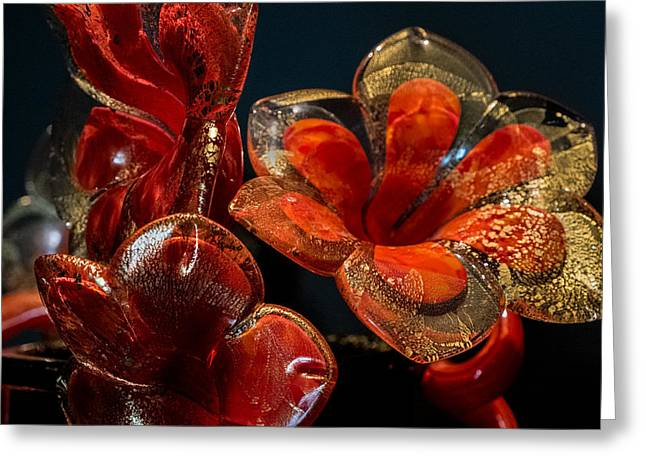 Red And Gold Greeting Card by Glenn DiPaola