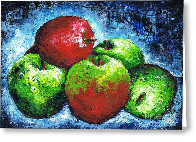 Red And Green Apples Greeting Card by Kamil Swiatek