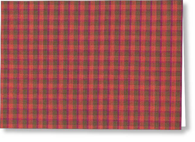 Red And Green Checked Plaid Pattern Cloth Background Greeting Card by Keith Webber Jr