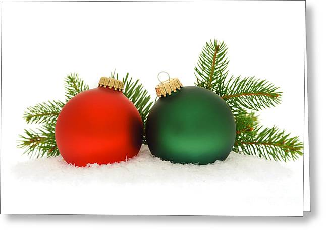 Red And Green Christmas Baubles Greeting Card by Elena Elisseeva