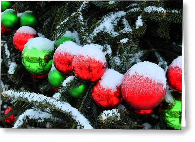 Red And Green Christmas Ornaments Greeting Card
