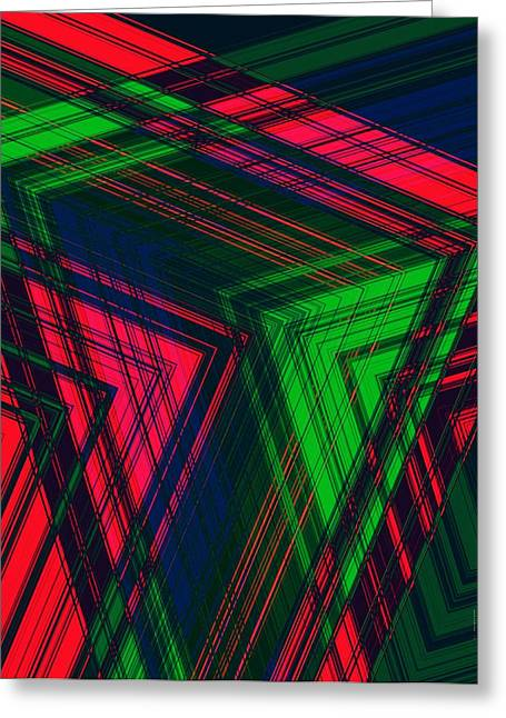 Red And Green In Geometric Design Greeting Card by Mario Perez