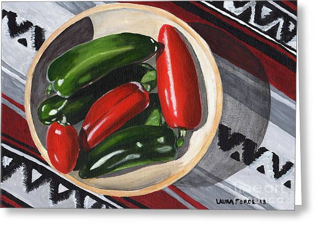 Red And Green Peppers Greeting Card by Laura Forde