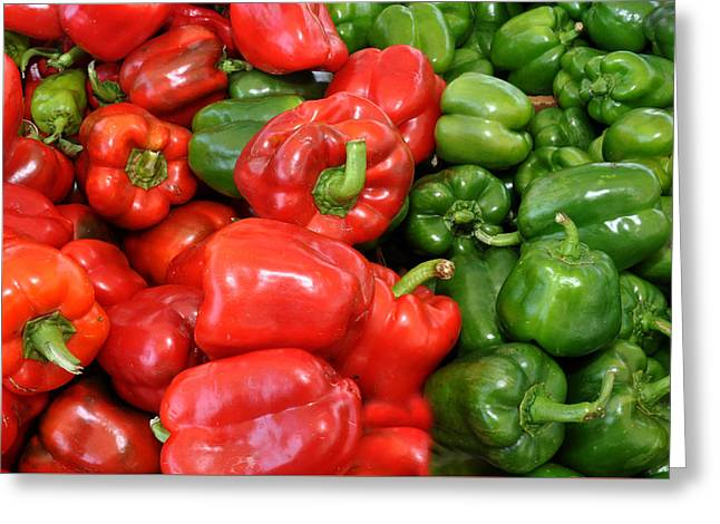 Red And Green  Peppers Union Square Farmers Market Greeting Card