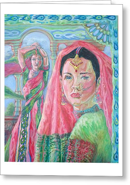Greeting Card featuring the painting Red And Green by Suzanne Silvir