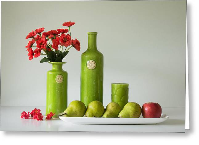 Red And Green With Apple And Pears Greeting Card by Jacqueline Hammer