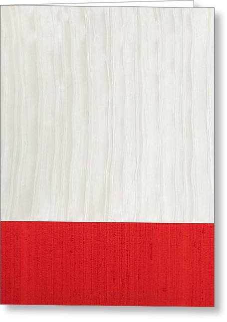 Red And Ivory Silk Greeting Card