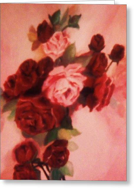 Greeting Card featuring the painting Red And Pink Roses by Christy Saunders Church