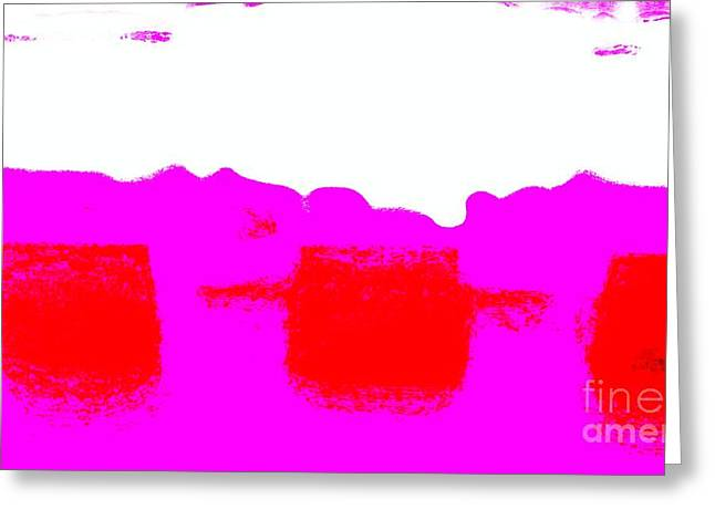 Red And Purple Abstract Greeting Card by Eric  Schiabor