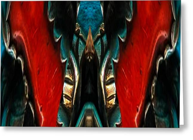 Red And Silver Abstract Greeting Card