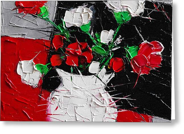 Red And White Carnations Greeting Card by Mona Edulesco