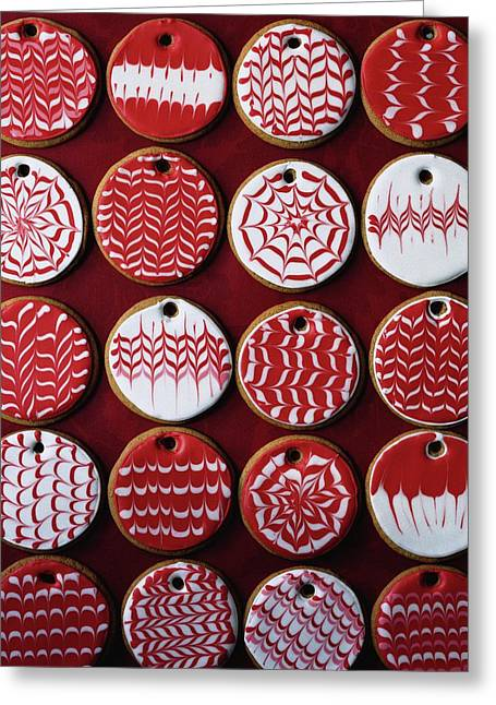 Red And White Christmas Cookies Greeting Card
