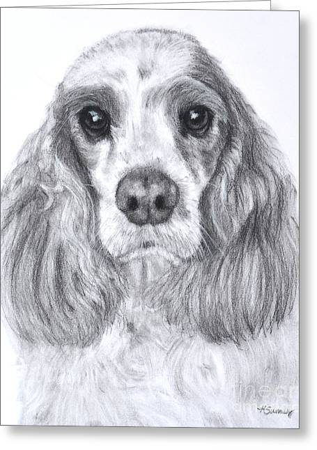 Red And White Cocker Spaniel Greeting Card