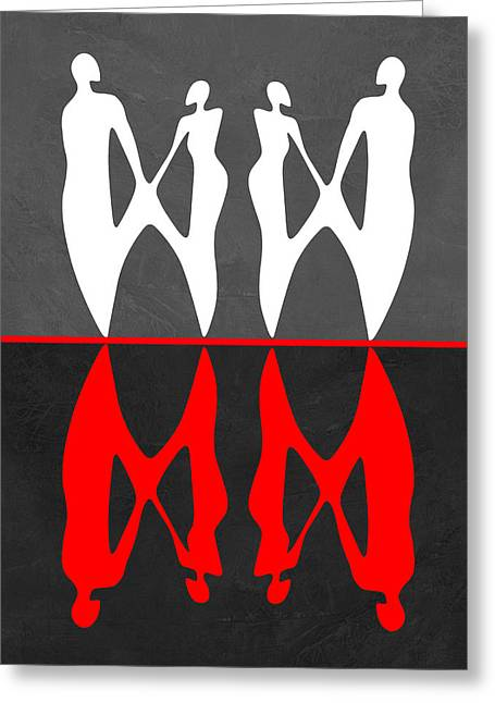 Red And White Dance 2 Greeting Card
