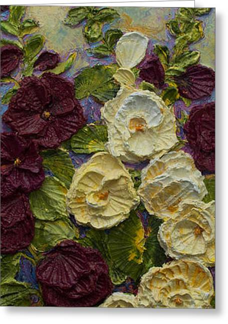 Red And White Hollyhocks Greeting Card by Paris Wyatt Llanso