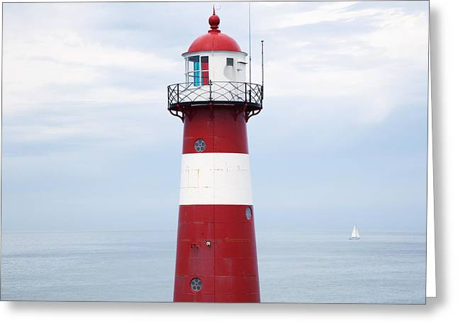 Red And White Lighthouse Greeting Card by Peter Zoeller
