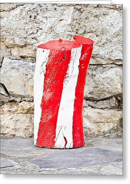 Red And White Log Greeting Card by Tom Gowanlock