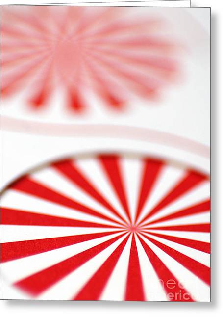 Red And White Pinwheels Greeting Card by Amy Cicconi