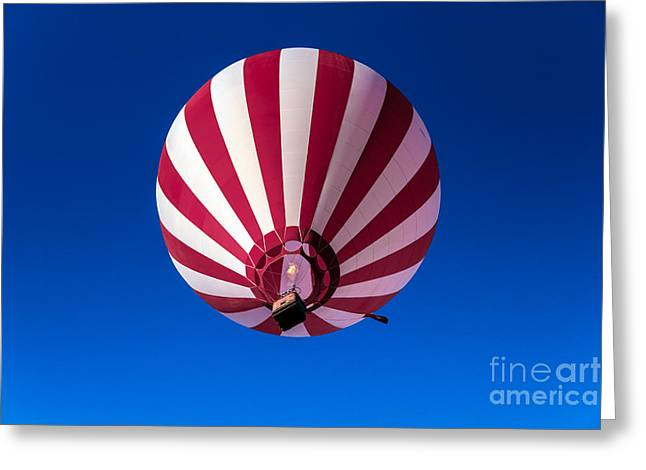 Red And White Striped Balloon Greeting Card by Robert Bales