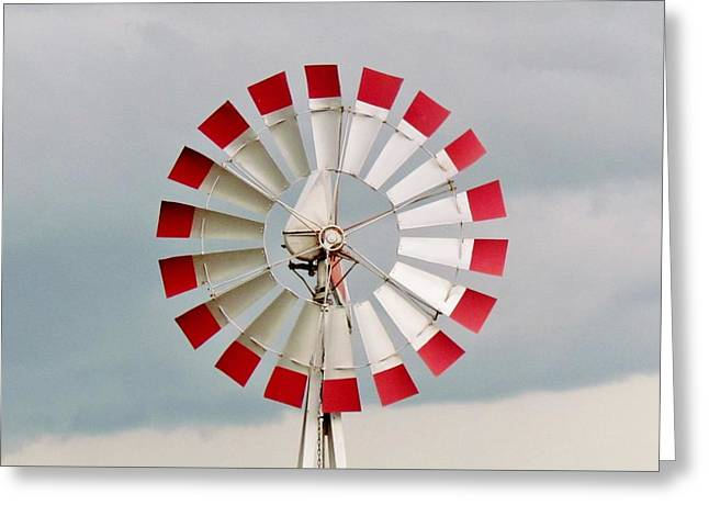 Greeting Card featuring the photograph Red And White Windmill by Cynthia Guinn