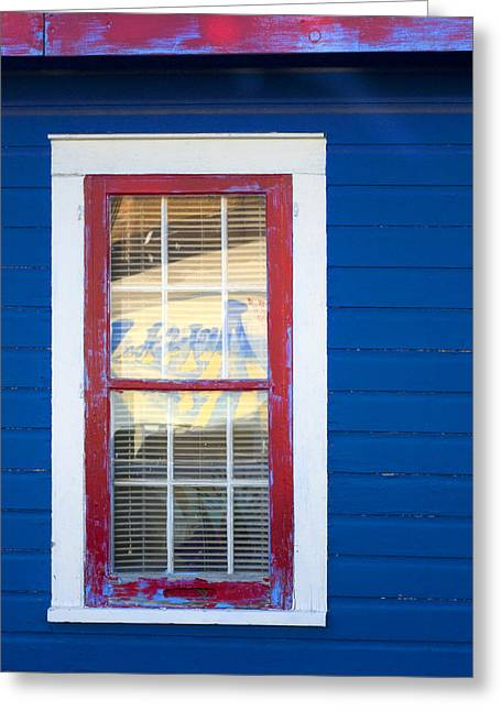 Red And White Window In Blue Wall Greeting Card