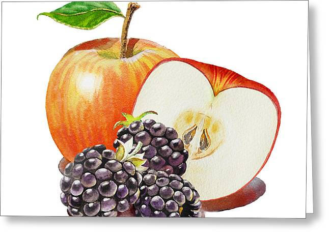 Red Apple And Blackberries Greeting Card by Irina Sztukowski