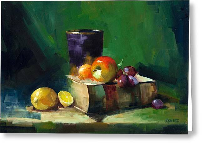 Red Apple Book And Purple Greeting Card by Pepe Romero