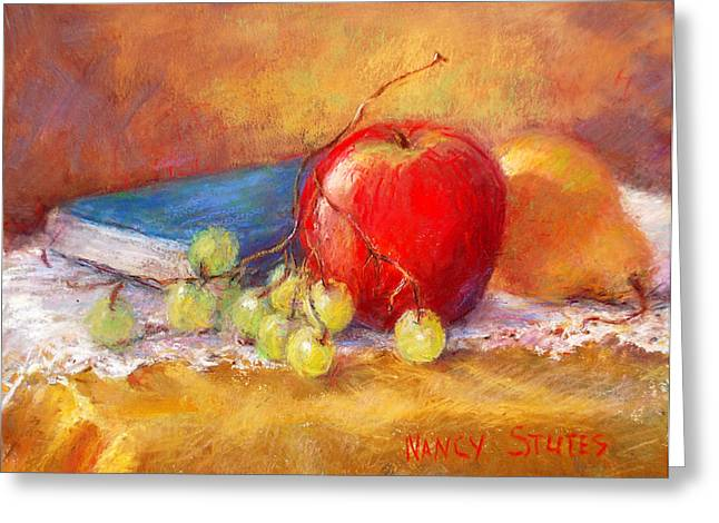 Red Apple Greeting Card by Nancy Stutes
