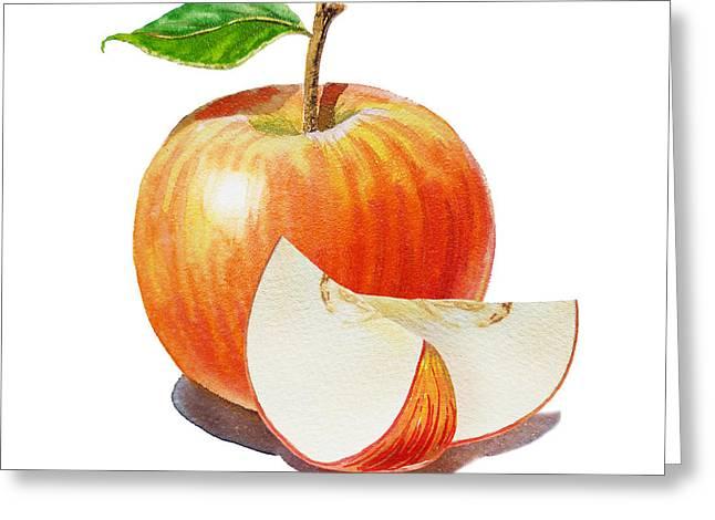 Red Apple Sliced Apple Greeting Card by Irina Sztukowski