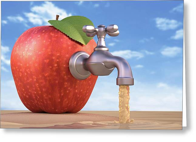 Red Apple With A Tap Greeting Card by Ktsdesign