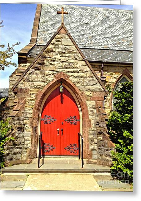 Greeting Card featuring the photograph Red Arch Church Door 1 by Becky Lupe
