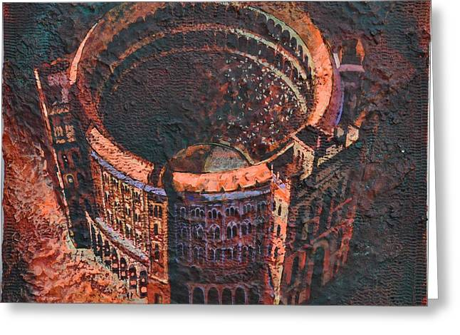 Red Arena Greeting Card by Mark Jones